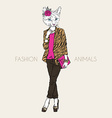 Fashion of cat girl dressed up in city style vector image vector image