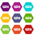 fuel tanker truck icon set color hexahedron vector image vector image