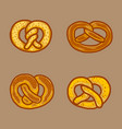 german pretzel icon set hand drawn style vector image