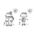 girl in dress girl in warm clothes vector image