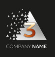 golden number three logo in silver pixel triangle vector image vector image