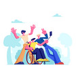 group friends with disabled man in wheelchair vector image