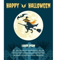 Halloween party invitation with witch vector image vector image