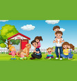 happy family at park vector image vector image