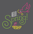 hello spring design with cute bird drawings vector image vector image