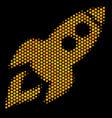 hexagon halftone space rocket launch icon vector image