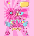 japanese anime cosplay party invitation cute vector image vector image