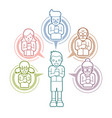 little boy chat online with his family vector image