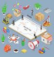 marketing mix model isometric flat concept vector image vector image