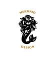 mermaid with flying hair vector image vector image