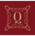 Monogram letter Q Calligraphic ornament Gold
