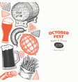 octoberfest banner template hand drawn greeting vector image vector image