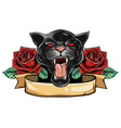 panther snake roses tattoo graphic vector image vector image