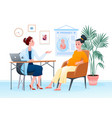 pregnant woman at doctors appointment talking vector image vector image