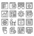 progrmming code and coding icons set line style vector image