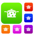 saucepan with white dots set collection vector image vector image