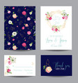 save the date card set with blossom pink flowers vector image vector image