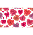seamless texture with doodle hearts decorated vector image vector image