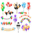 set balloon bunches garlands isolated groups vector image vector image