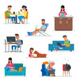 set of cartoon people characters in flat vector image vector image