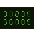 Set of green digital number signs made up from