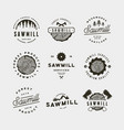 set of sawmill logos retro styled woodwork vector image vector image