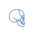 skull side view line icon concept skull side view vector image