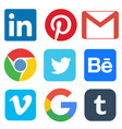 social media icon for linkedin pinterest gmail vector image vector image