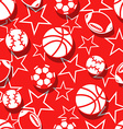 Sports balls in red and white seamless pattern vector image vector image