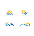 sun with water wave icon vector image