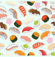sushi pattern for background wrap around vector image vector image