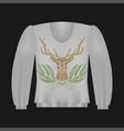 sweatshirt template with deer vector image