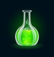 Transparent flask with magic green liquid on black vector image vector image
