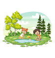 two children play with a boat by al lake vector image vector image