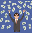 young businessman is catching big money vector image