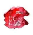 Sketch of wine on watercolor stain vector image