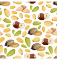 cartoon style nuts seamless pattern - healthy food vector image