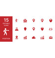 15 position icons vector image vector image