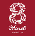 8th march happy womens day greeting card vector image
