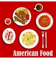 American dinner with grilled meat and chilli icon vector image vector image