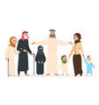 arab family muslim mother and father happy kids vector image