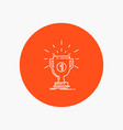 award cup prize reward victory white line icon in vector image vector image