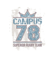 Campus rugby team emblem vector image vector image