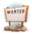 cartoon wood sign with wanted on torn paper vector image vector image