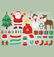 christmas set with decoration elements santa vector image vector image