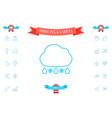cloud rain snow line icon vector image