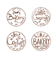Collection of vintage retro hand draw bakery vector image