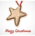 Cookie star Paper label on ribbon vector image vector image