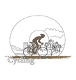 Cycling man silhouette doodle Poster vector image vector image