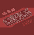 dj audio equipment sound mixer and turntables vector image